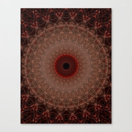 Brown mandala with red sun Canvas Print