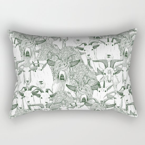 just goats dark green Rectangular Pillow