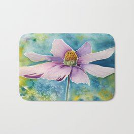 pink flower watercolor art Bath Mat