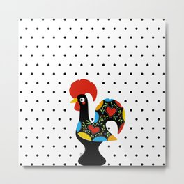 Famous Rooster Lucky Charm & Polka Dots Metal Print