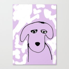 Dog waiting on a purple background Canvas Print