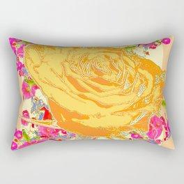 CORAL COLOR ART &  ORANGE ROSE PINK  FLOWERS  DESIGN Rectangular Pillow