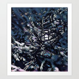 modern blue christmas tree Art Print