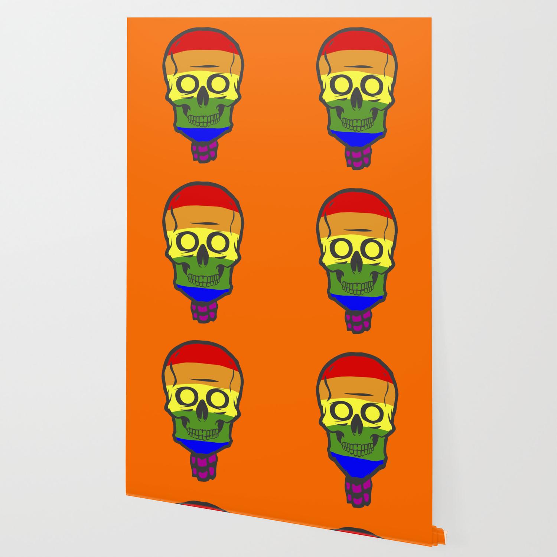 Halloween Skeleton Wallpaper.Gay Pride Rainbow Halloween Skull Skeleton Wallpaper
