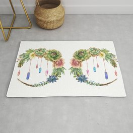 Crystal Crescent Moon With Lovely Succulents Rug