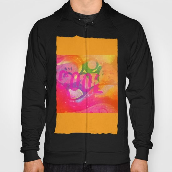 Cool colorful graffiti print in electric bright tones with two strange faces Hoody