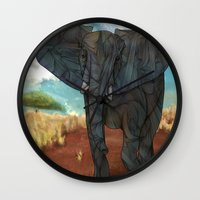 african Wall Clocks featuring African Elephant by Ben Geiger