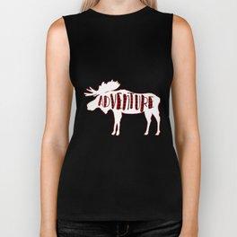 Red Buffalo Plaid Moose ADVENTURE typography Biker Tank