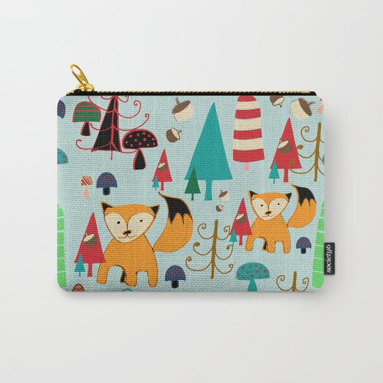 Woodland fox blue Carry-All Pouch