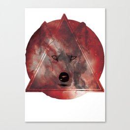 Wolf Head With Moon/Galaxy Design RED Canvas Print