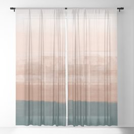 Desert Dream Waves_ Teal Green & Pink_ brush strokes abstract painting Sheer Curtain