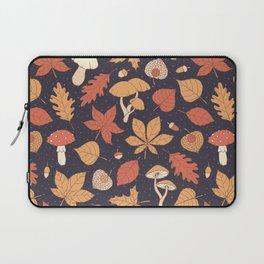 Autumn Pattern on Dark Blue Laptop Sleeve
