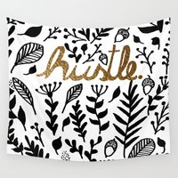 hustle Wall Tapestries featuring Hustle by wildpink