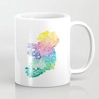 ruben ireland Mugs featuring Typographic Ireland by CAPow!
