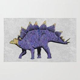 Purple & Gold Stegosaurus Dinosaur on Grey Rock Background Rug