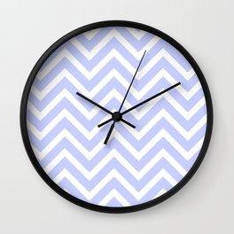 Chevron Stripes : Periwinkle Blue & White Wall Clock
