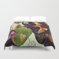 "flora bowley Duvet Covers featuring ""Deep Peace"" Original Painting by Flora Bowley by Flora Bowley"