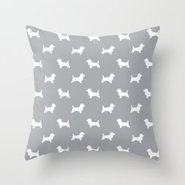 Cairn Terrier dog breed grey and white dog pattern pet dog lover minimal Throw Pillow