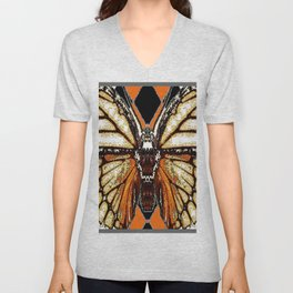 RIBBED WHITE BROWN & BLACK BUTTERFLY WING VEINS Unisex V-Neck