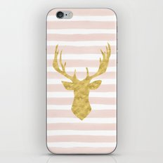 Pink Watercolor Stripes and Gold Deer iPhone & iPod Skin