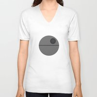death star V-neck T-shirts featuring Star Wars Minimalism - Death Star by Casa del Kables