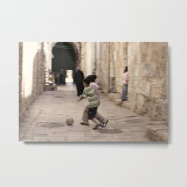Futbol in the Old City Metal Print