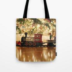 Christmas Tree and Train Tote Bag