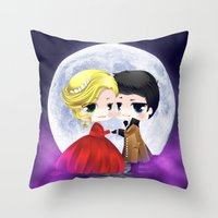 captain swan Throw Pillows featuring OUAT - Chibi Captain Swan Dance by Yorlenisama