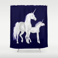 unicorns Shower Curtains featuring FANTASY - Unicorns by valzart