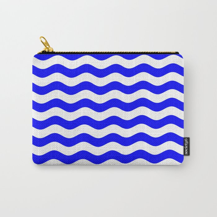 Wavy Stripes (Blue/White) Carry-All Pouch