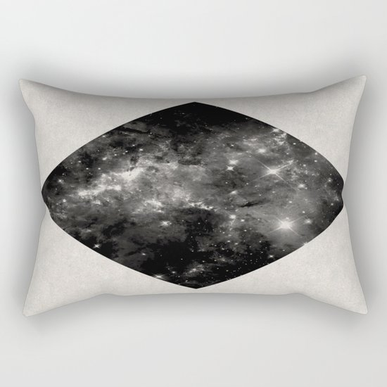 Space Diamond - Abstract, geometric space scene in black and white Rectangular Pillow