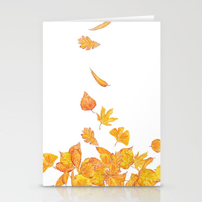 falling yellow leaves watercolor stationery cards by colorandcolor