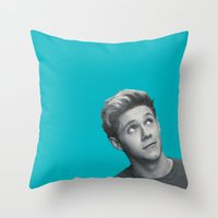 niall horan Throw Pillows featuring Niall Horan Teal by RamseCal