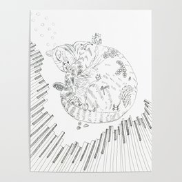 cat and piano Poster