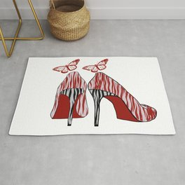 Black and Red Zebra High Heels Shoes With Butterflies Rug