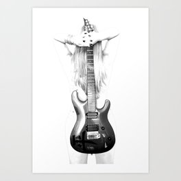 Guitar woman Art Print