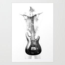 Guitar woman Art Print