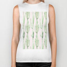 Green and Coral Pink Cactus Stack Pattern Biker Tank
