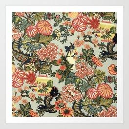 Chinese Dragon Vintage Floral Pattern Art Print