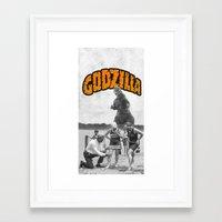 godzilla Framed Art Prints featuring godzilla  by sr casetin
