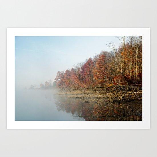 Early morning fog in October Art Print
