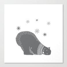 Merry christmas- Polar bear - Animal Watercolor Illustration Canvas Print