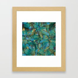 Fragments In blue - Abstract, fragmented art in blue Framed Art Print