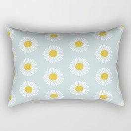 Daisy pattern basic flowers floral blossom botanical print charlotte winter Rectangular Pillow