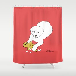 Gingerbread Gets It - Great Pyrenees Humor Shower Curtain