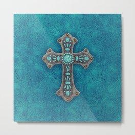 Turquoise Rustic Cross Metal Print
