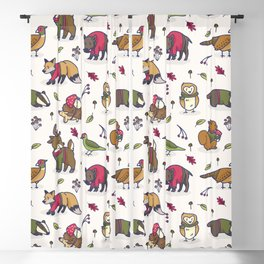 Cute woodland animal cartoon seamless pattern Blackout Curtain