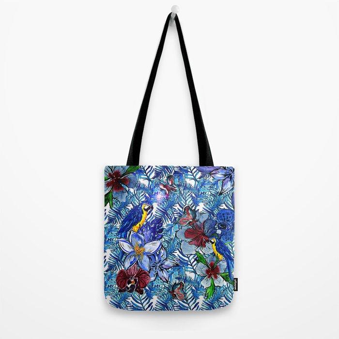 Aloha - Tropical blue Palm Leaf Flower and Bird Pattern Tote Bag