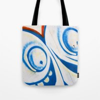 grafitti Tote Bags featuring Grafitti Face by Leslie Philipp