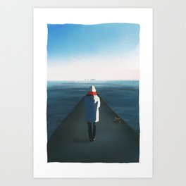 Cold girl in front of the sea Art Print